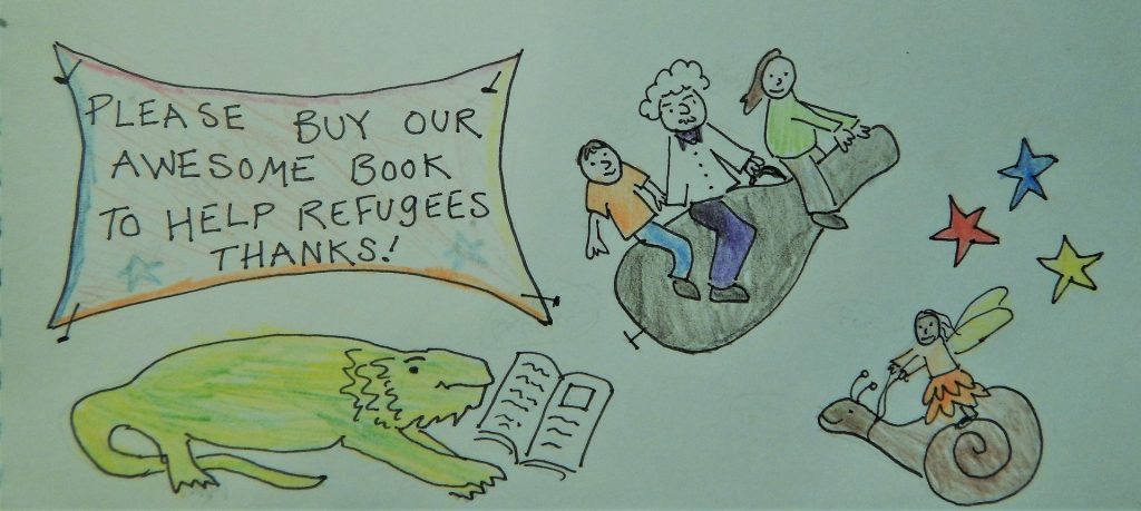 Original Drawing by Julian Wang with a caption that reads: Please buy our qesome book to help refugees. Thanks!