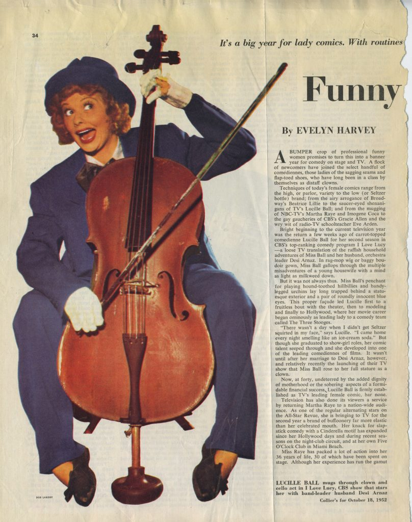 1952-10-18 Lucy and Cello in Colliers Magazine