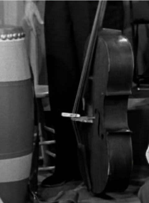 The clothespin on the I Love Lucy cello bridge in The Audition