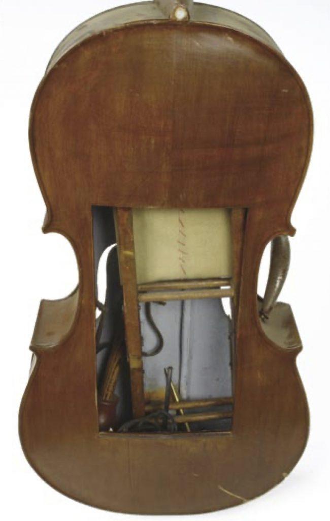 Interior of cello from Pepito memorabilia in Profiles in History Auction page 137