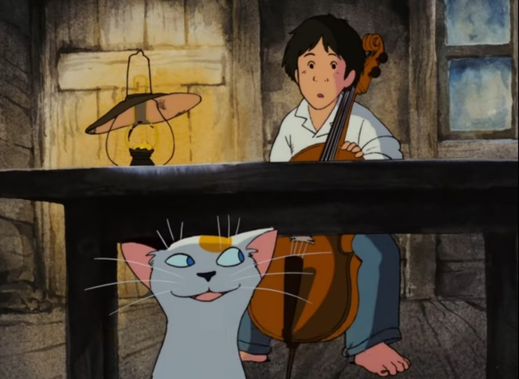 Cellist Gauche and the visiting cat. Screenshot from Cello Hiki no Gauche. Copyright by production studio and/or distributor. Intended for editorial use only.
