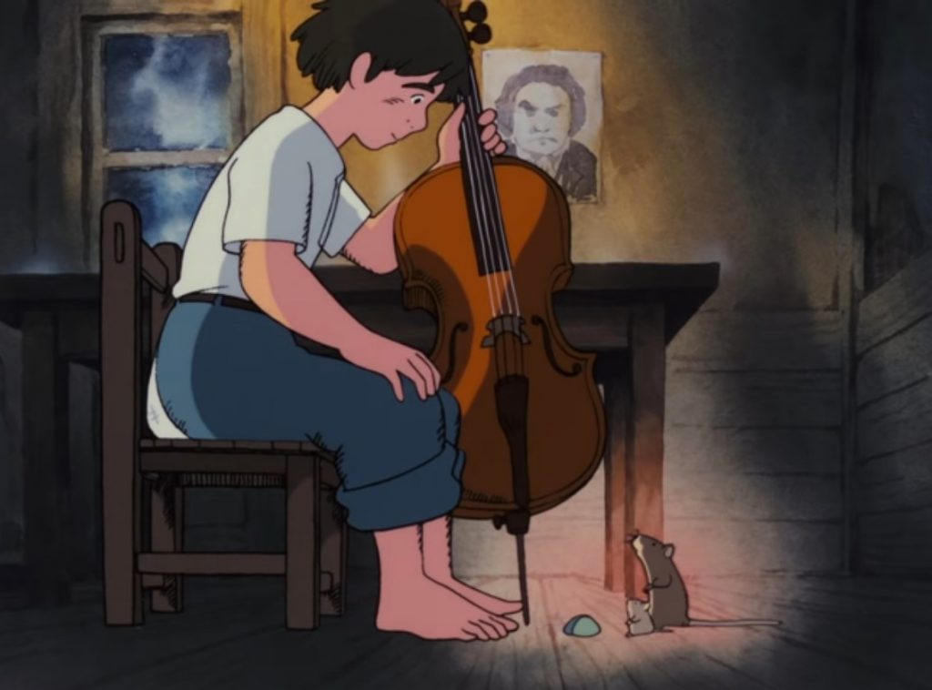 Cellist Gauche and the visiting mice. Screenshot from Cello Hiki no Gauche. Copyright by production studio and/or distributor. Intended for editorial use only.