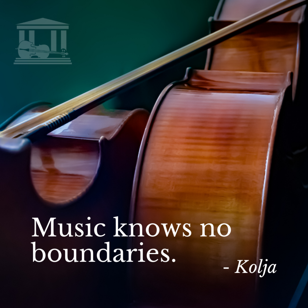 "Image of Two Cellos with a bow resting across both of them in the background thiw this quote from the movie Kolja: ""Music knows no boundaries."""