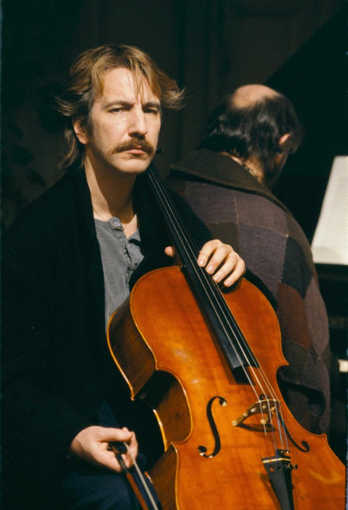 Alan Rickman as the cellist Jamie in Truly, Madly, Deeply. Copyright by BBC and other relevant production studios and distributors. Intended for editorial use only. Source: MovieStillsDB.