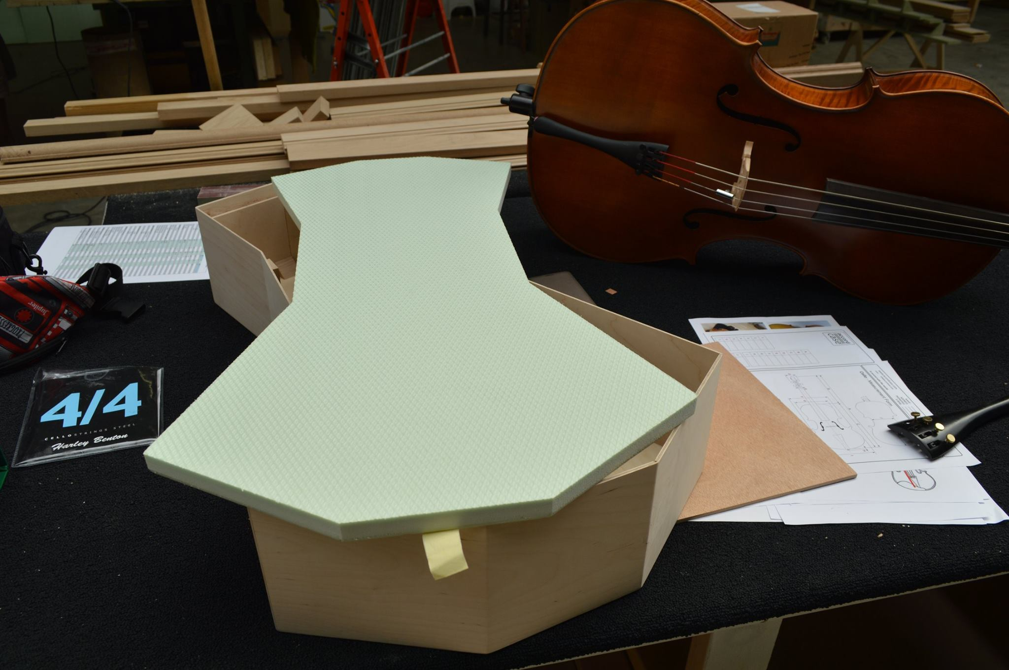 XPS Cello under construction by Anika Beauquesne