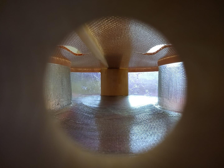 Interior view of the Glass Fiber Cello by Tim Duerinck