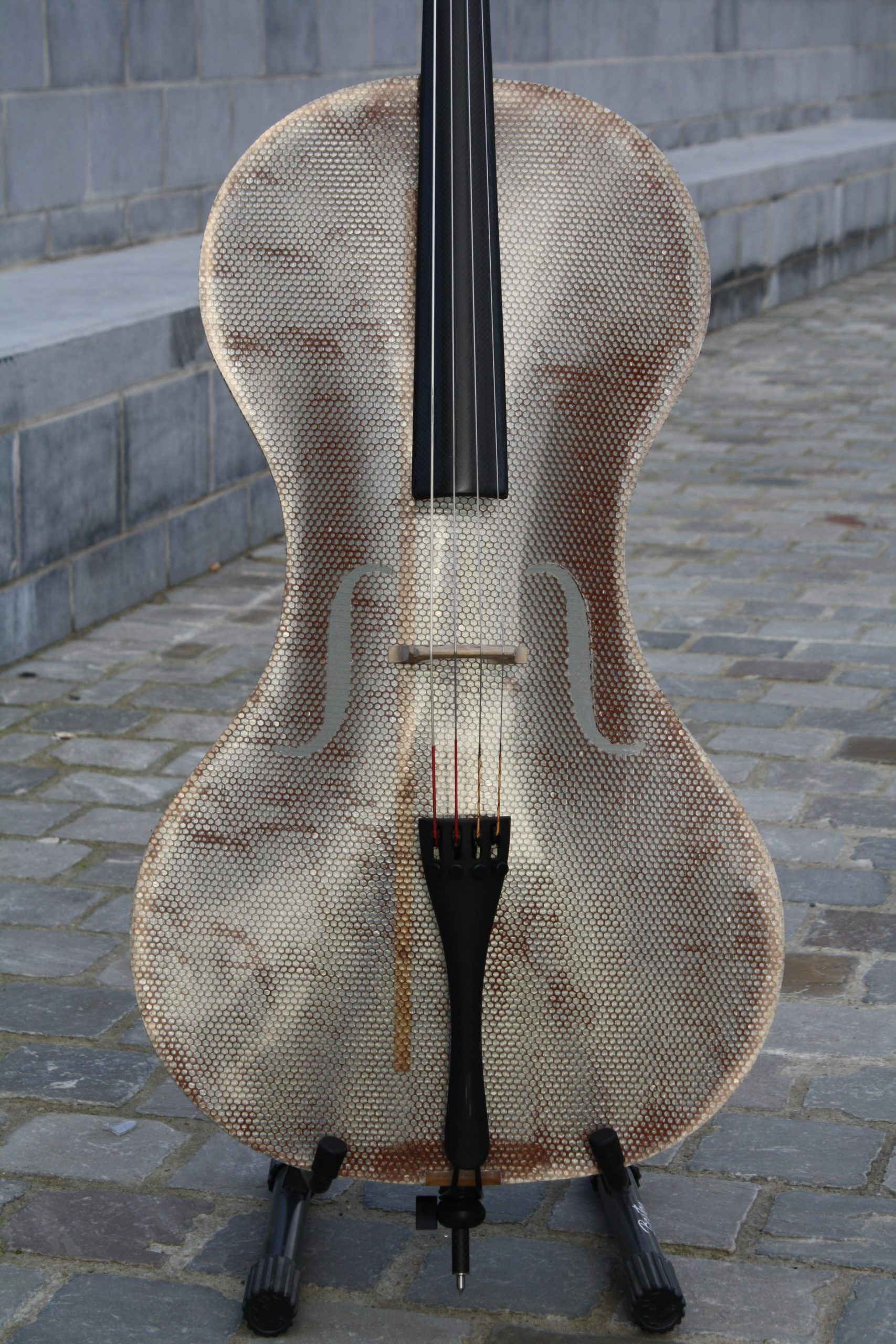 Detail of the Glass Fiber Cello by Tim Duerinck