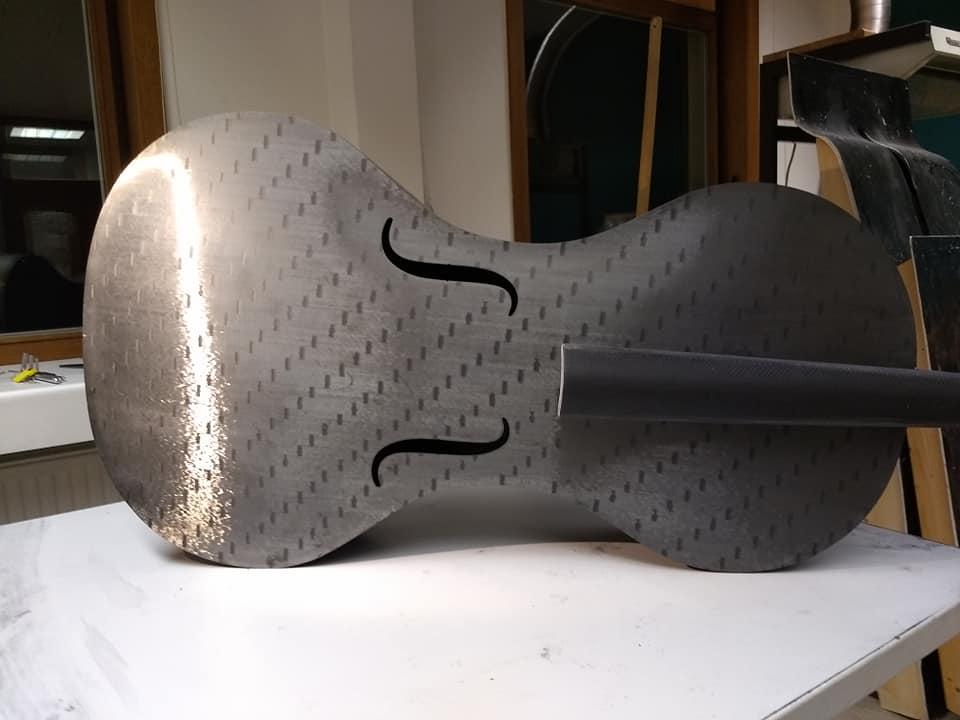 Tim Duerinck Carbon Fiber Cello without Strings, Bridge, and Tailpiece