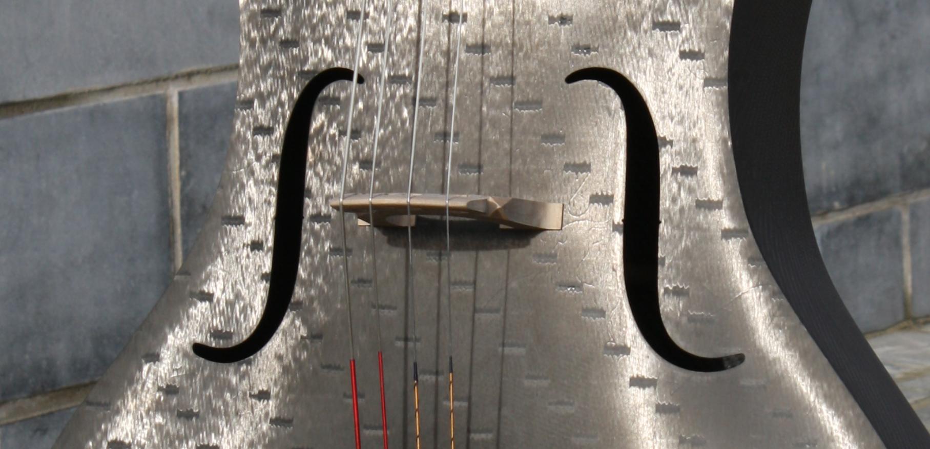 Tim Duerinck Carbon Fiber Cello Detail of f-holes