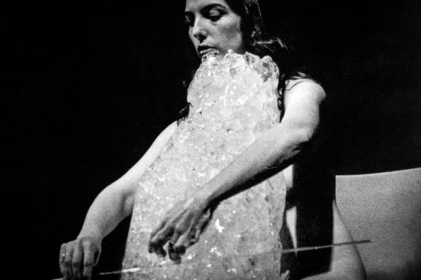 Charlotte Moorman performs Jim McWilliams's Ice Music for London, International Carnival of Experimental Sound, London, 1972. Photographer unknown. Photo courtesy Charlotte Moorman Archive, Charles Deering McCormick Library of Special Collections, Northwestern University Library.