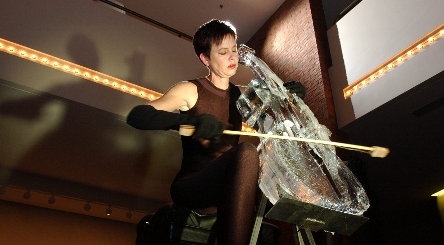 Joan Jeanrenaud performing Ice Music. Photo from press release