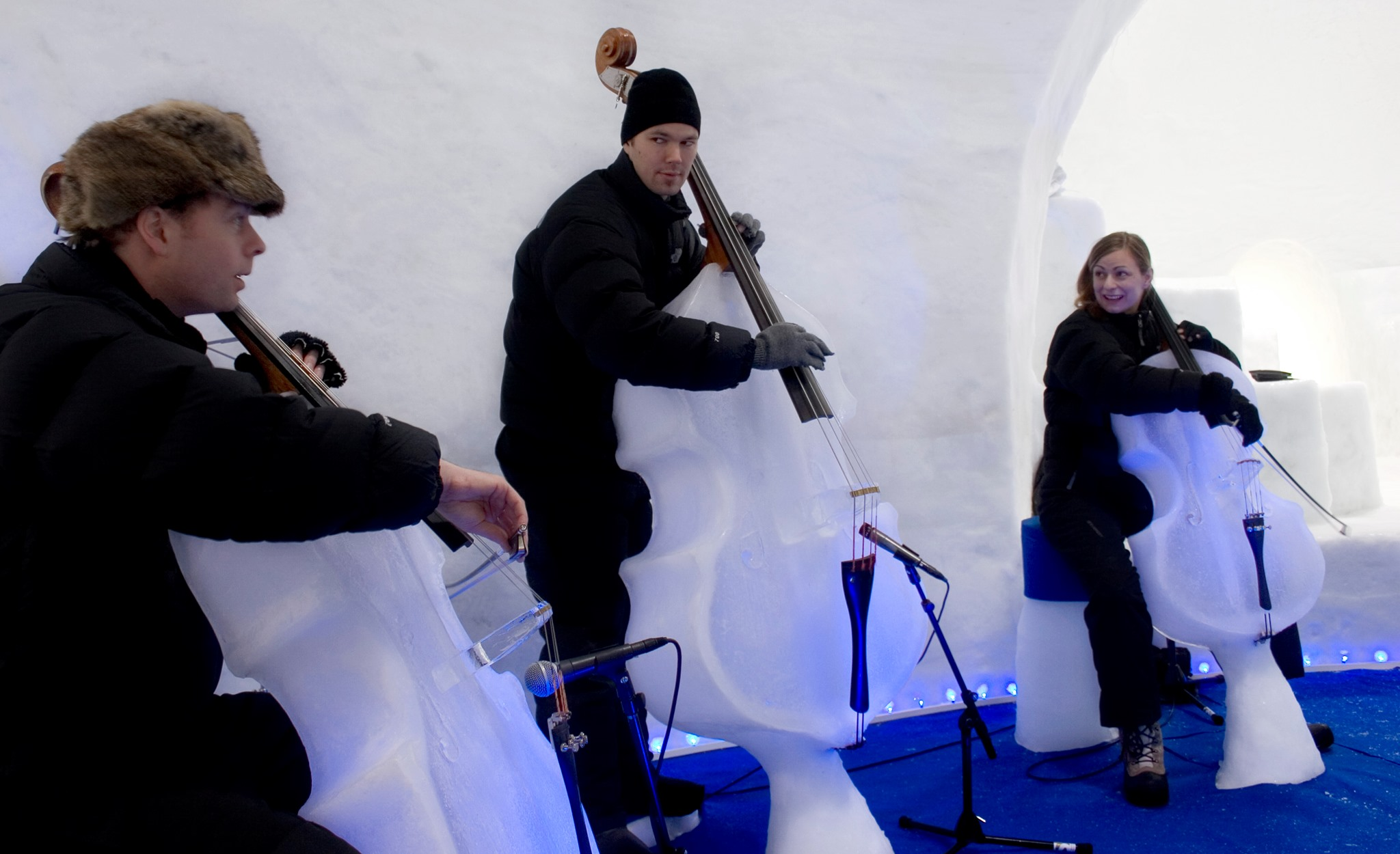 Two Ice Cellos and an Ice Double Bass Being Played – Ice Music -Photo Linda: Snell