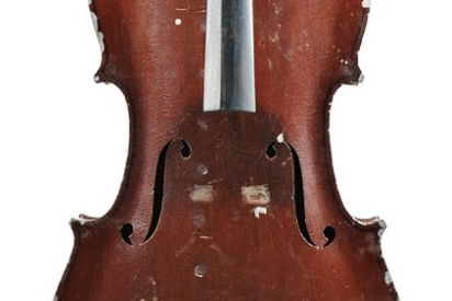 Detail of Front of German Aluminum Violoncello, G. A. Pfretzschner, c. 1930, photo credit: Skinner, Inc.