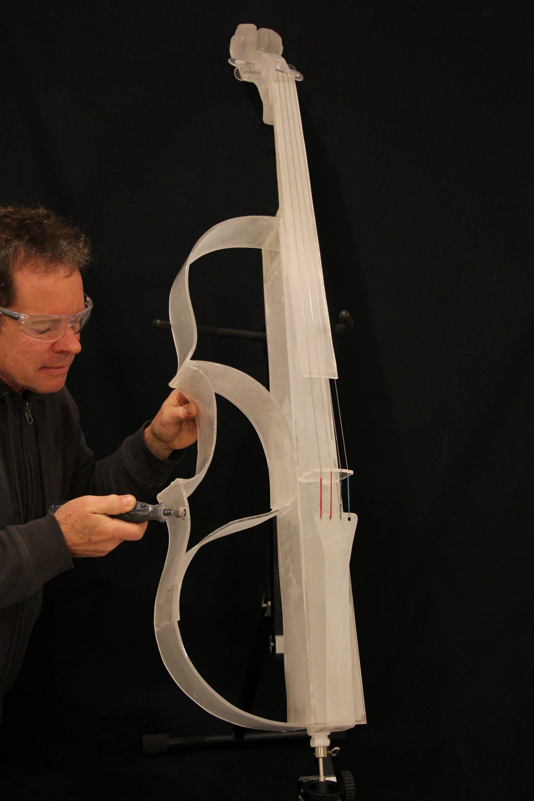 Gary Word: Glass Cello Fabrication. Photo courtesy Gary Word
