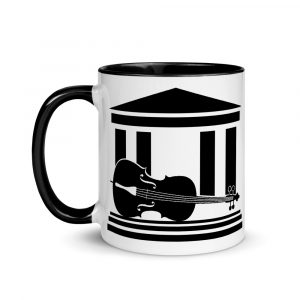 The Cello Museum Mug - White with black logo and black handle and interior