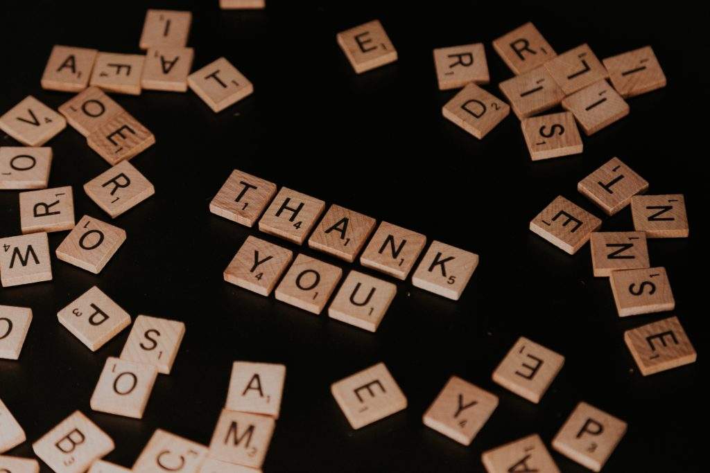 Thank You in Scrabble Letters