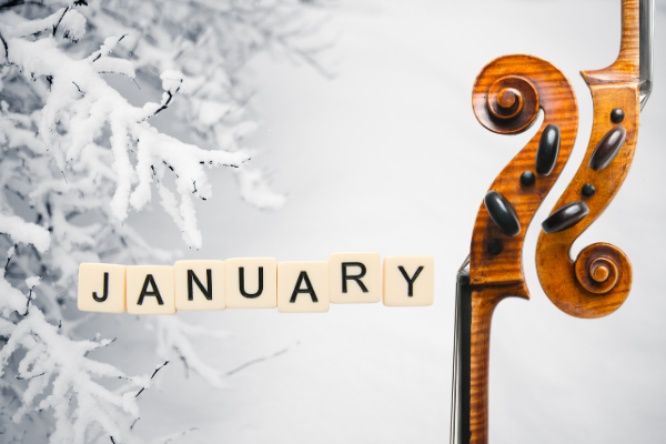 January with 2 cello scrolls